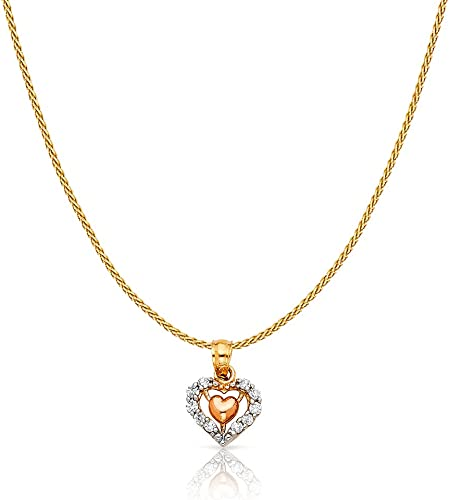 14K Two Tone Gold Cross Charm Pendant with 0.9mm Wheat Chain Necklace