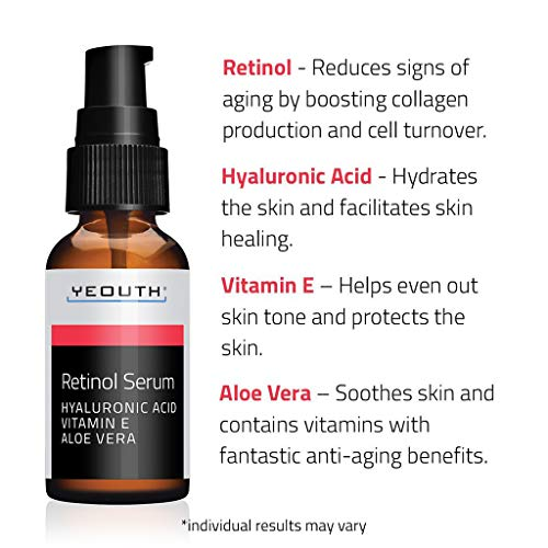 Retinol Serum 2.5% with Hyaluronic Acid, Aloe Vera, Vitamin E – Boost Collagen Production, Reduce Wrinkles, Fine Lines, Even Skin Tone, Age Spots, Sun Spots – 1 fl oz – Yeouth … (1oz)