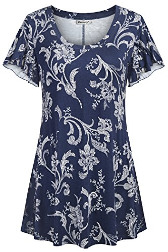 (Ouncuty Long Tunic Short Sleeve, Maternity Dressy Tops Womens Pleated Tops Blue with Flower Pattern Tunics XL Women's Crewneck Short Sleeve Tunic Shirt Career Holiday(US16-18))