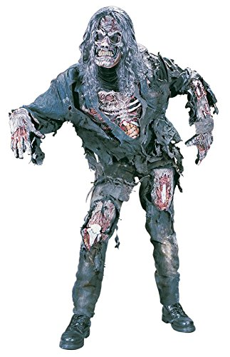 Scary Costumes (FunWorld Men's Complete 3D Zombie Costume, Grey, One Size)