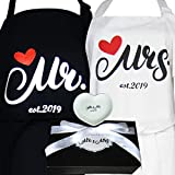 Aprons Gift Set with His and Hers Aprons,Heart-Shaped Ring Dish,Mr. and Mrs. Est. 2019 Kitchen Cooking Set with Gift Box, Funny Cooking Bibs for Wedding Marriage Newlyweds(Set of 2) (Heart2019)