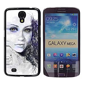 LECELL -- Funda protectora / Cubierta / Piel For Samsung Galaxy Mega 6.3 I9200 SGH-i527 -- Painted Girl --