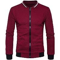 kaifongfu Mens 'Escudo, manga larga Outwear Plaid chaqueta de punto cierre Sudadera Tops chamarra