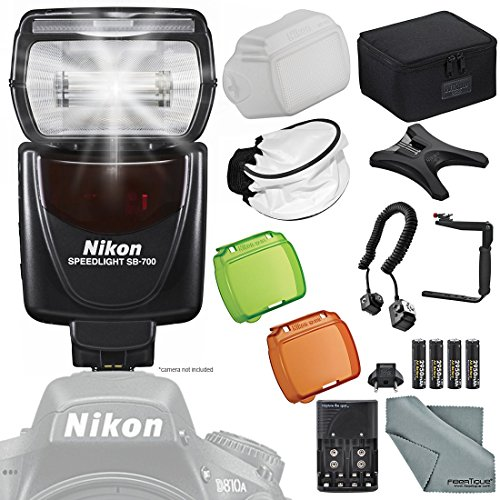 Nikon SB-700 AF Speedlight Flash for Nikon Digital SLR Cameras w/ Essential Accessories + FiberTique Microfiber Cleaning Cloth by Photo Savings