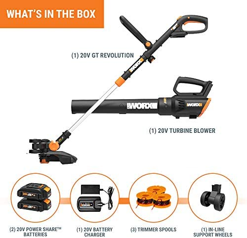 Worx WG930 20V 10 Cordless String Trimmer TURBINE Blower Combo Kit, 2 Batteries and 1-Hr Charger
