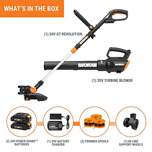 Worx WG930 20V 10 Cordless String Trimmer TURBINE Blower Combo Kit