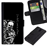 Good Phone Accessory // Leather Wallet Protective Case Card Money Holder Cover for Samsung Galaxy Note 4 IV // Went To College Skeleton - Funny - Goth