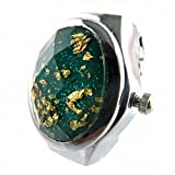 Youyoupifa Oval Faceted Crystal Inlay Hunter Case Quartz Finger Ring Watch (Green)