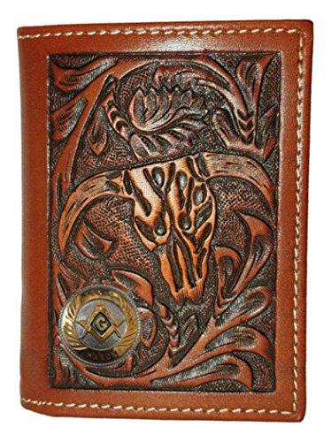 Trifold Skull Wallet Small Cow Leather Badge Mason Custom Texas HfXvpqHY