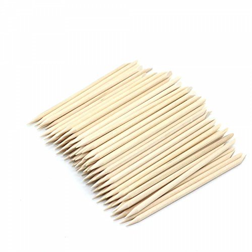 (IDS 100 Pcs Nail Art Wood Sticks Cuticle Pusher Wooden For Nail Art Care Manicure Nail Tools)