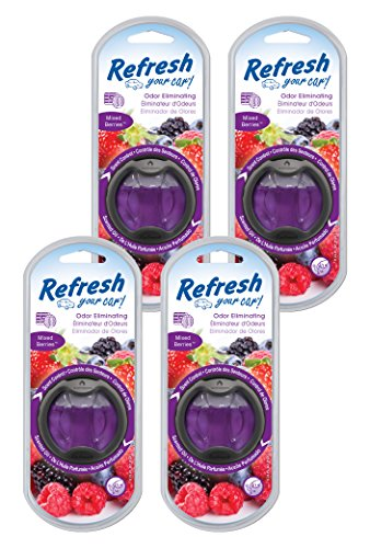 (Refresh Your Car! 84015Z Scented Oil Diffuser, Mixed Berries, 4-Pack)