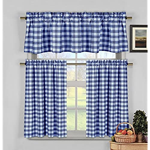 Navy Blue White Gingham Checkered Design Kitchen Curtains, 3 Pc