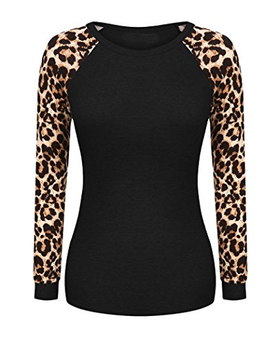 OURS Womens Raglan Long Sleeve Leopard Print Top Casual T Shirts Blouse (XXL, Black)