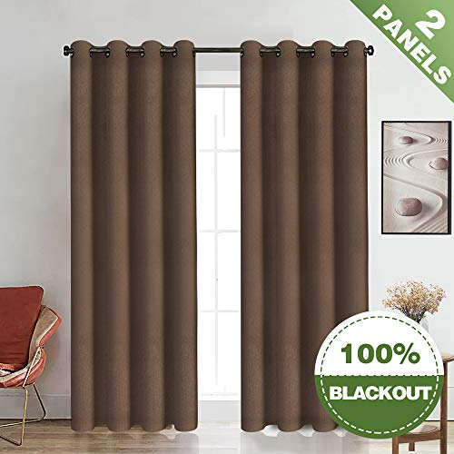 ECODECOR Brown Blackout Curtains for Living Room Velvet Like Soft Drapes Triple Weave Thermal Insulated Window Treatment Set 2 Panels 50