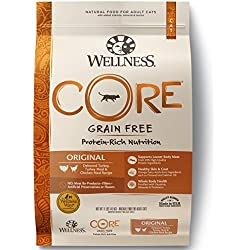 Wellness Core Natural Grain Free Dry Cat Food, Original Turkey & Chicken Recipe, 11-Pound Bag