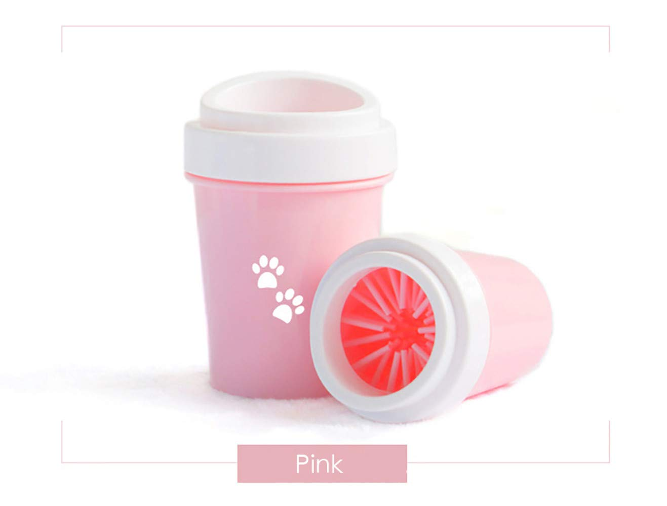 FDGBCF Dirty Paw Washer for Small Large Dogs Paw Cleaner Cup Portable Pet Grooming Brush Dog Pet Foot Washer Muddy Pet Products,Pink,Sdiameter6.5CM