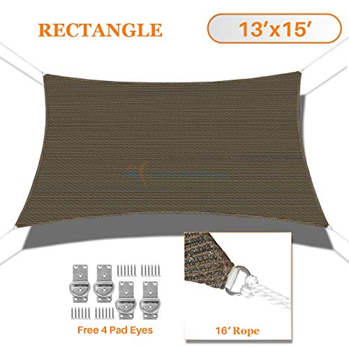 TANG Sunshades Depot 13 x15 Sun Shade Sail Rectangle Permeable Canopy Brown Coffee Custom Commercial Standard 180 GSM HDPE