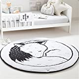 Cute Fox Baby Crawling Mat Round Floor Area Rug Cartoon Game Blanket Playmats Home Decoration for Kids Toddlers Bedroom Living Room Nursery 36 inch