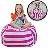 """EXTRA LARGE Stuff 'n Sit - Stuffed Animal Storage Bean Bag Cover by Creative QT - Available in 2 Sizes and 5 Patterns - Clean up the Room and Put Those Critters to Work for You! (38"""", Pink Stripe)"""