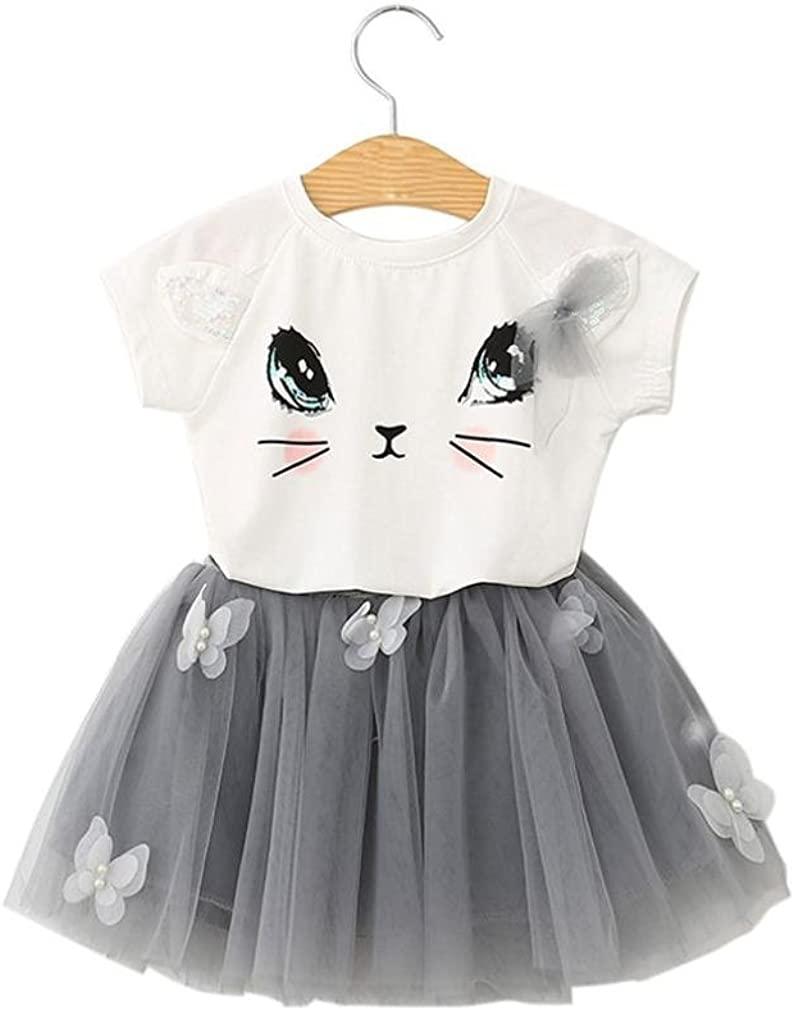 KONFA Baby Girls Cartoon Cat T-Shirt+Butterfly Skirt,Suitable for 2-6 Years Old,2Pcs Lovely Dresses Outfits