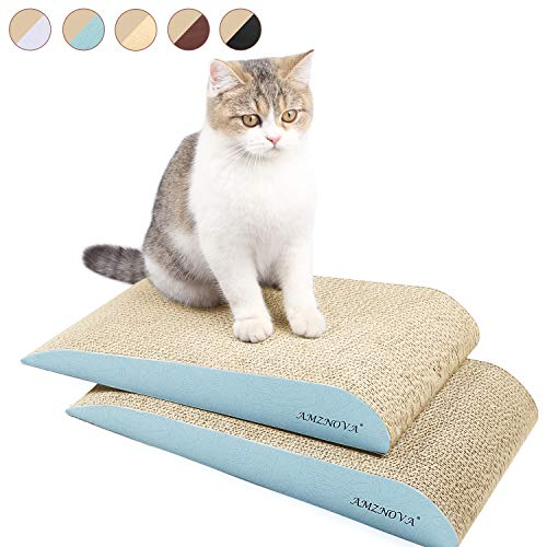 Scratching Kitty Ramp (AMZNOVA Cat Scratcher Ramp, Inclined Corrugated Cardboard Kitty Scratching Pad Lounge with Bottom, Catnip Included, 2 Pack, Baby Blue)