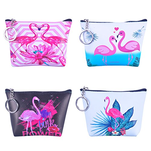 Oyachic 4Pack Zipper Coin Purse PU Change Pouch Mini Wallet with Key Ring Cute Animal Pattern Gifts for Women Girls (Art Flamingos)