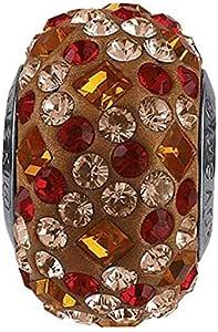 SWaROVSKI pave Medley Bead Multi Color Tangerine, Vintage Rose Becharmed 14 mm-9.30 mm