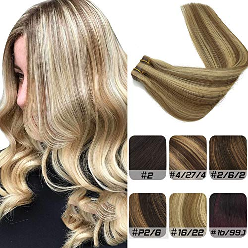 (Labeh 14inches Tape in Hair Extensions Pu Remy Real Human Hair Extensions Ash Blonde Hightlighted Seamless Skin Weft Ombre Blonde Tape in Extensions 20pcs 50g (14inch, Ombre Highlight Blonde #16/22))