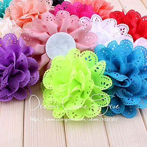 Decorations 200pcs/lot 4'' 15 Colors Chic Chiffon Eyelet Flower Accessories for Baby Girl Headband Fashion Artificial Fabric Hair Flowers by Unknown
