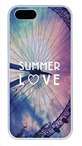 Protective PC Case Skin for iphone 5 White Fashion PC Case Back Cover Shell for iphone 5S with Summer Love Ferris Wheel Free