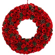 "Boxwood Christmas Wreath 20"" w/Red Berries Pinecone Natural Wood Handcrafted Fall Winter Festival Decorative Front Door Fireplace Wall Decoration Home Decor"