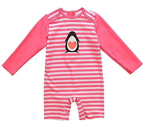 ALove Baby Beach One Piece Striped Swimsuit UPF 50 Sun Protective Sunsuit 24 - Full Penguin Body