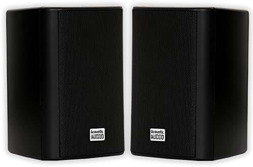 Acoustic Audio AA351B Indoor/Outdoor Speakers, Black, Set of 2