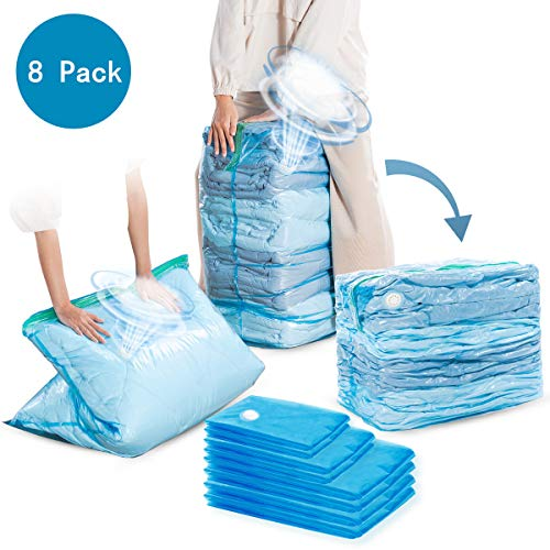 CLEVHOM Premium Vacuum Storage Bags, Variety Pack, 8 Count, 80% More Storage! Double-Zip Seal and Triple Seal Turbo-Valve for Max Space Saving! for Bedding, Blanket, Clothes, No Pumps Need