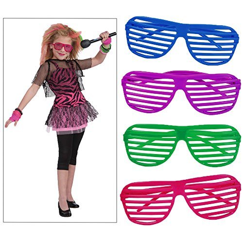 Toy Cubby Stylish 80's Slotted Party Favors Neon Costume Sunglasses, 12 pieces