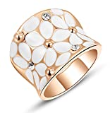 Womens Elegant White Enamel Flower Rose Gold Band Bloom Petal Wedding Engagement Ring Crystal Inlay