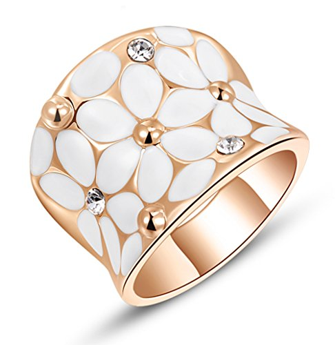 (Womens Elegant White Enamel Flower Rose Gold Band Bloom Petal Wedding Engagement Ring Crystal Inlay Size 7)