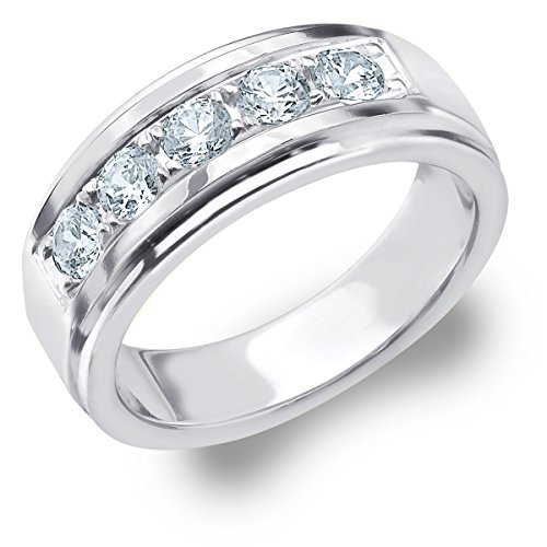 1 CTTW Legacy Men's Wedding Ring, Genuine Diamond Ring for Men in Platinum, Finger Size -