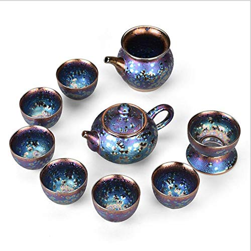 (Goodscene Vintage European Tea/Coffee Set Teapot Cup Set, Kiln Change Craft Ceramic Colorful Peacock Tea Set)