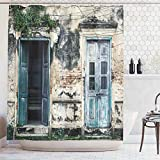 French Country Shower Curtains Ambesonne Rustic Decor Shower Curtain, Doors of an Old Rock House with French Frame Details in Countryside European Past Theme, Fabric Bathroom Set with Hooks, 75 Inches Long, Teal and Grey