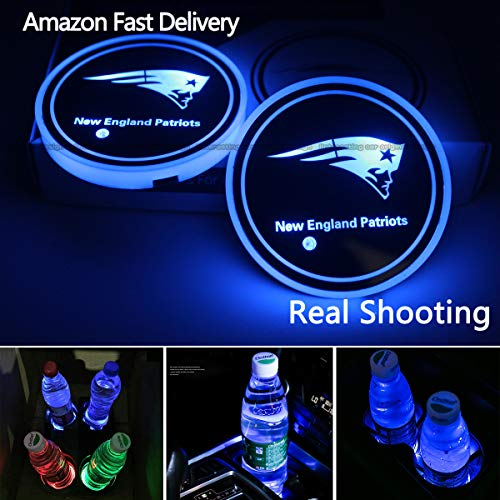 2pcs LED Car Cup Holder Lights for NFL-New England Patriots, 7 Colors Changing USB Charging Mat Luminescent Cup Pad, LED Interior Atmosphere Lamp,We are More Loyal Fans -