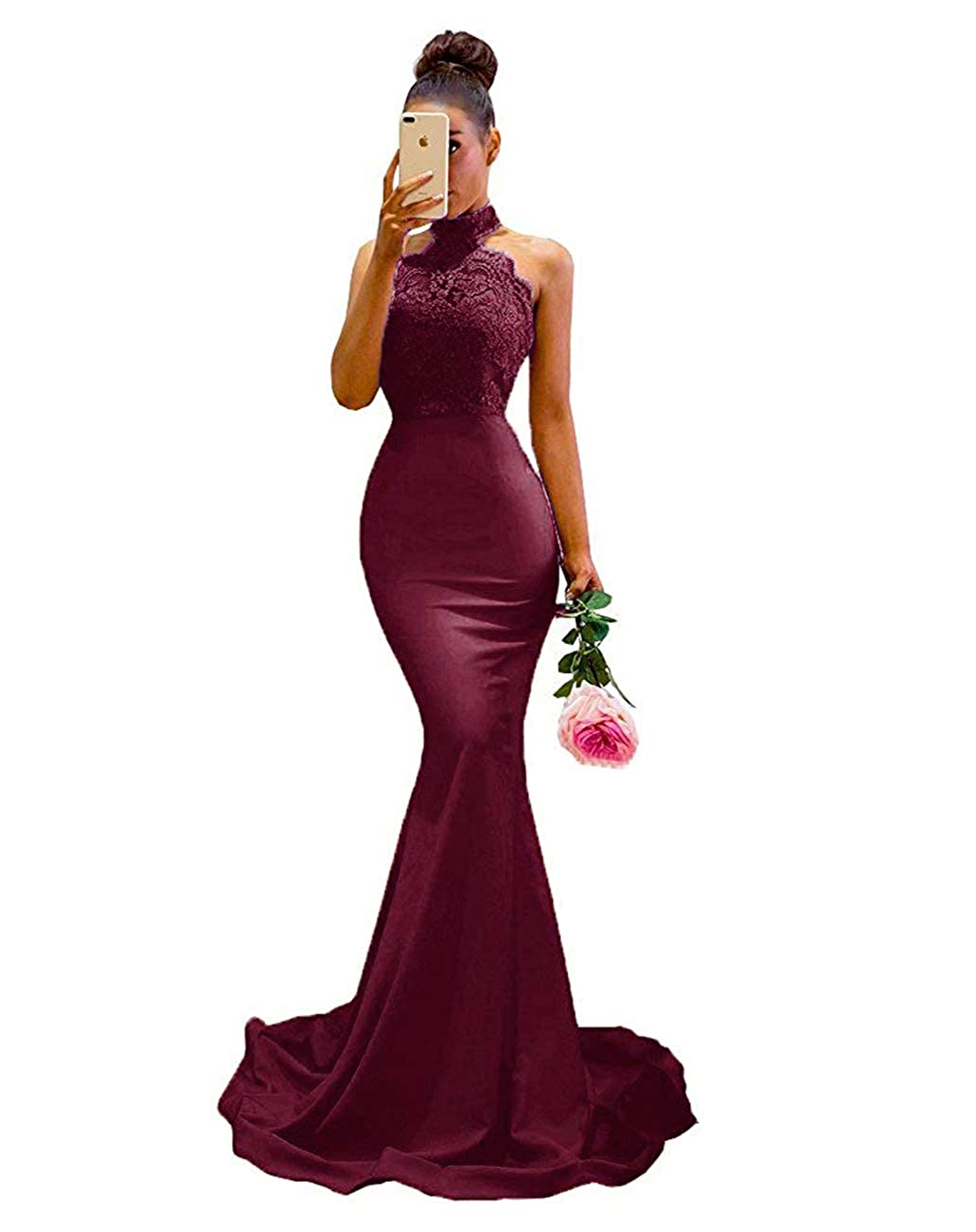 Burgundy BridalAffair Women's Halter Neck Mermaid Appliques Lace Long Bridesmaid Dress Formal Party Gown for Wedding