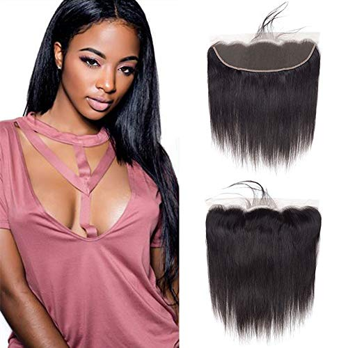 Weave Lace - VRVOGUE 16 Inch Straight Weave Lace Frontal Brazilian Hair Closure Ear To Ear For 13x4 Lace Frontal Wig 100% Unprocessed Virgin Brazilian Human Hair Weave Extensions (16 Inch- Nature Black-50g)