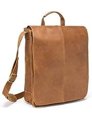 LeDonne Distressed Leather Laptop Messenger Bag, Tan
