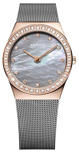 Bering Women's 30mm Grey Steel Bracelet & Case Sapphire Crystal Quartz MOP Dial Analog Watch 12430-369