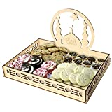Staron Wood Serving Tray Wooden Artistic Eid Serving Tableware Tray Display Wood Decoration Food Drink Breakfast Trays (A)