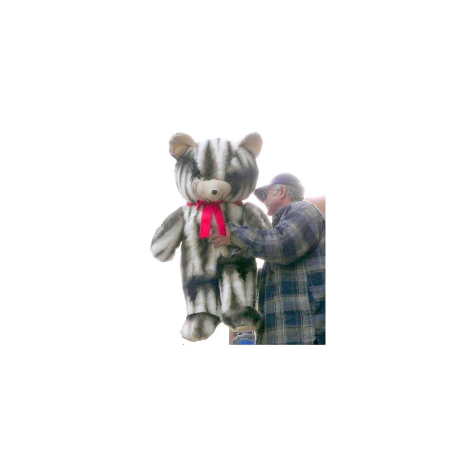 GIANT 42 TEDDY BEAR HUGE SOFT STUFFED BIG PLUSH JUMBO * COLOR VERTICAL STRIPES GRAY BROWN & WHITE * AMERICAN MADE IN THE USA AMERICA