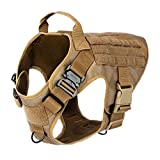 """ICEFANG Tactical Dog Harness,K9 Working Dog Vest,No Pull Front Leash Clip D-Ring,Hook Loop Panel ID Patch Snap-Proof (L (Chest 28""""-35""""), CB-2x Metal Buckle)"""