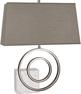 product image for Robert Abbey R910 Jonathan Adler Saturn - Two Light Table Lamp, Polished Nickel/White Marble Finish with Oyster Linen Shade