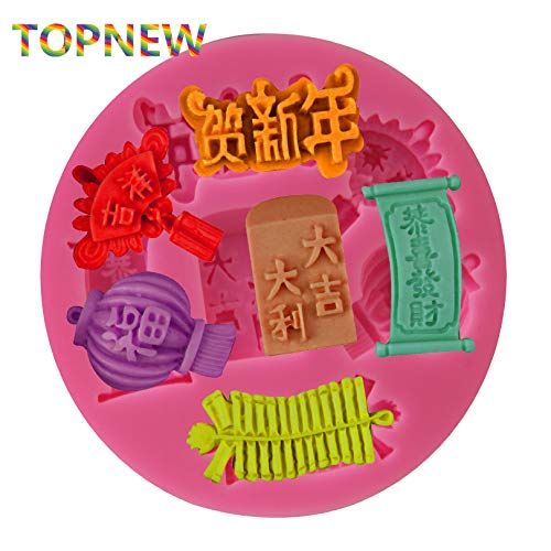 Kung Hei Fat Choy Chinese New Year Themed Silicone Mold Fondant Cake Decorating Sweets Chocolate moulds -